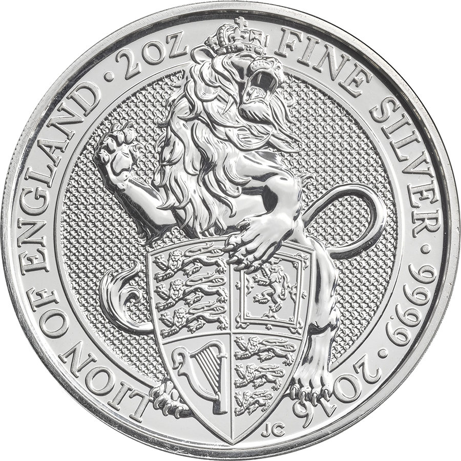 2016 UK Queen's Beasts The Lion 2oz Silver Coins