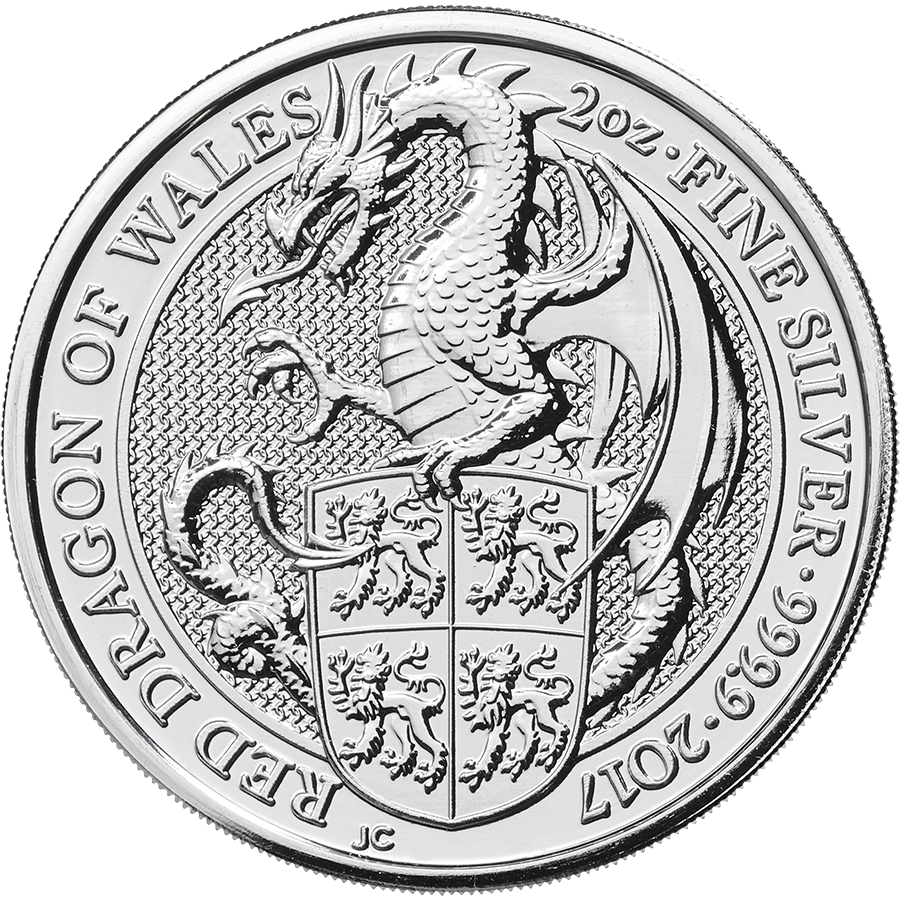 2017 UK Queen's Beasts The Dragon 2oz Silver Coin