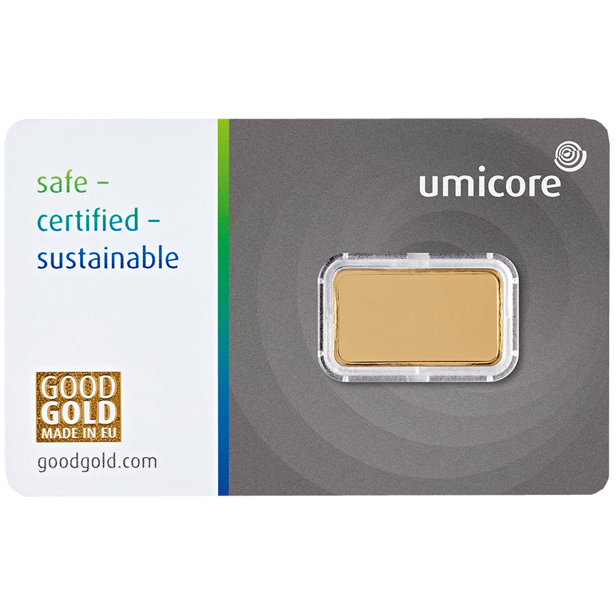 Umicore 2.5g Stamped Gold Bar in Assay (Image 2)