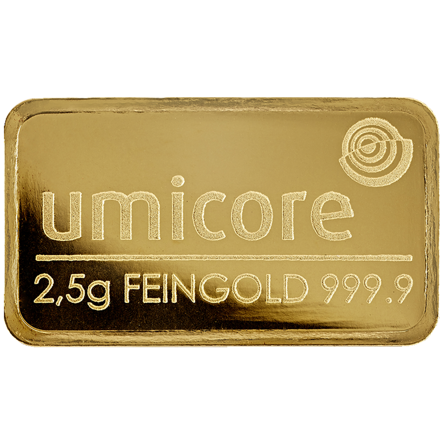 Umicore 2.5g Stamped Gold Bar in Assay (Image 3)