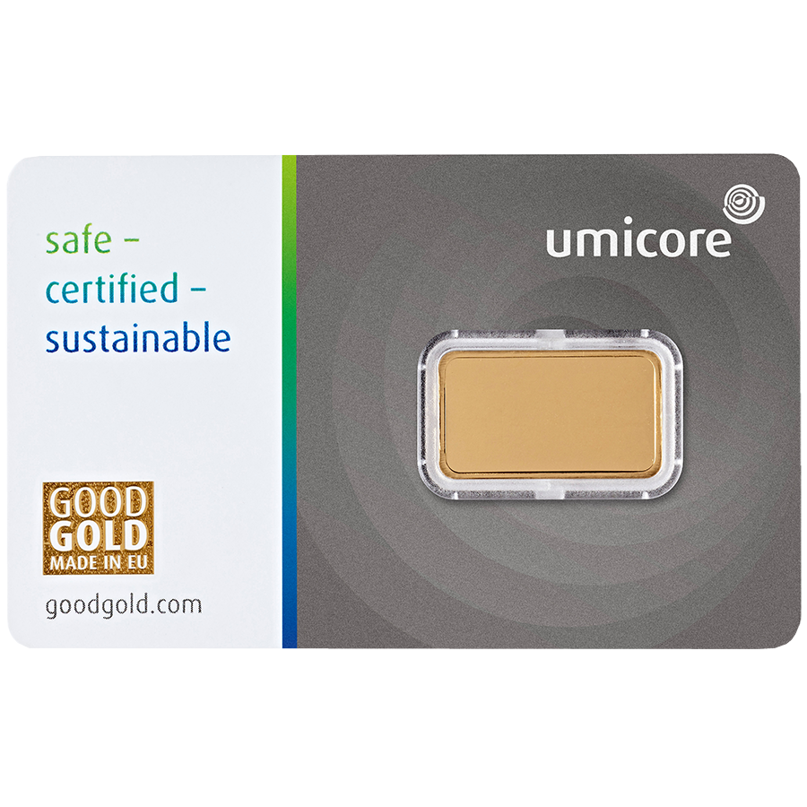 Umicore 5g Stamped Gold Bar in Assay (Image 2)