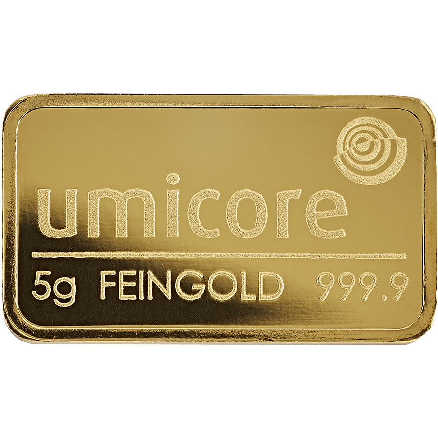 Umicore 5g Stamped Gold Bar in Assay (Image 3)