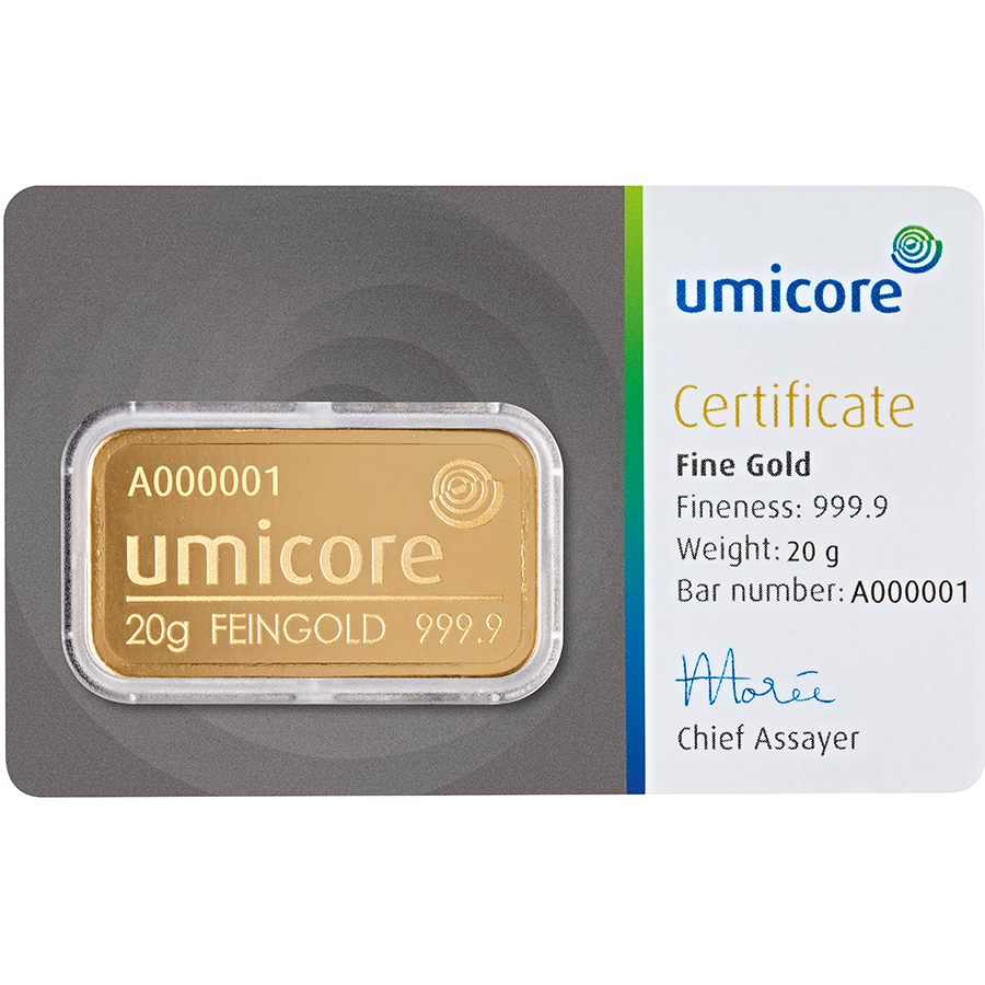 Umicore 20g Gold Stamped Bar in Assay (Image 1)