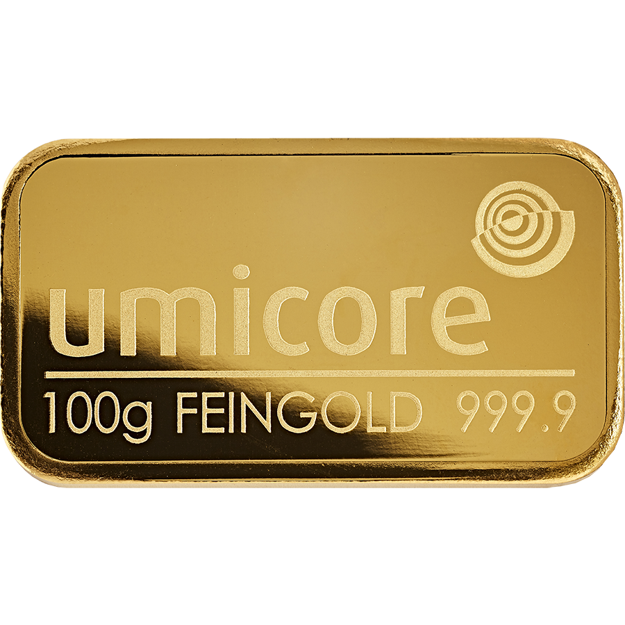 Umicore 100g Gold Stamped Bar in Assay (Image 3)
