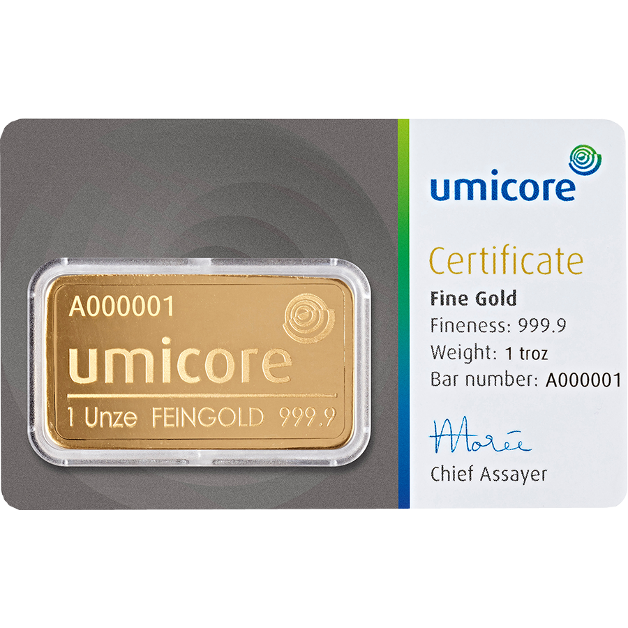Umicore 1oz Gold Stamped Bar in Assay