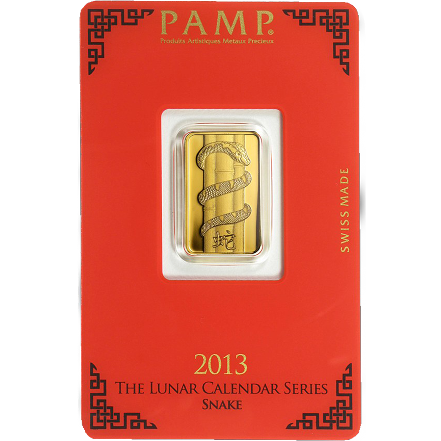 PAMP 2013 Lunar Snake 5g Gold Bar