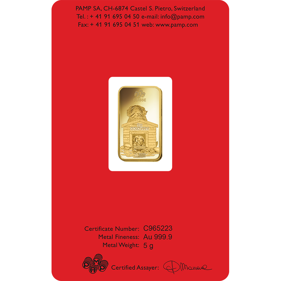 PAMP 2018 Lunar Dog 5g Gold Bar (Image 2)