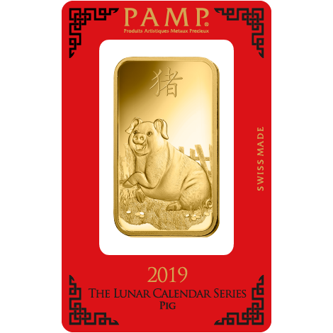 PAMP 2019 Lunar Pig 100g Gold Bar
