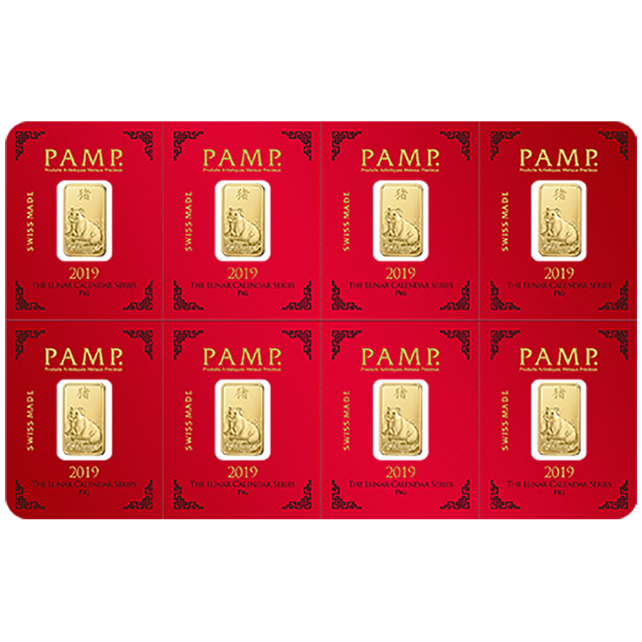 PAMP 2019 Lunar Pig 8x 1g Multigram Gold Bar