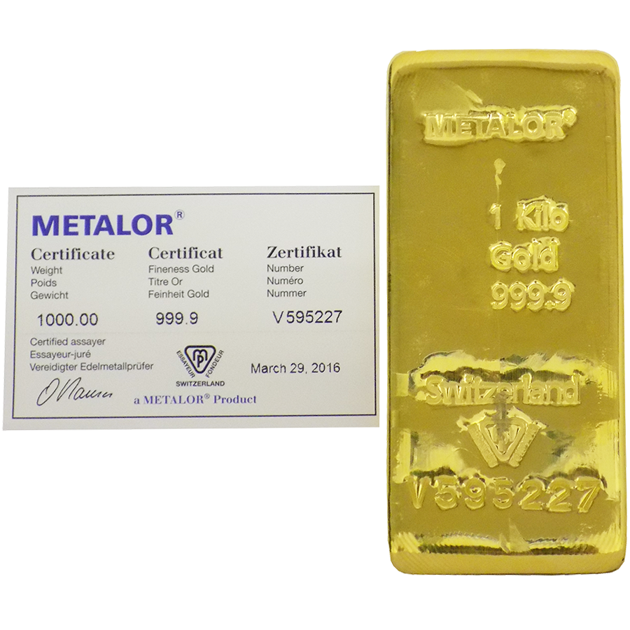 Metalor 1kg Gold Cast Bar Gold Bullion Bars Cheap Kilo