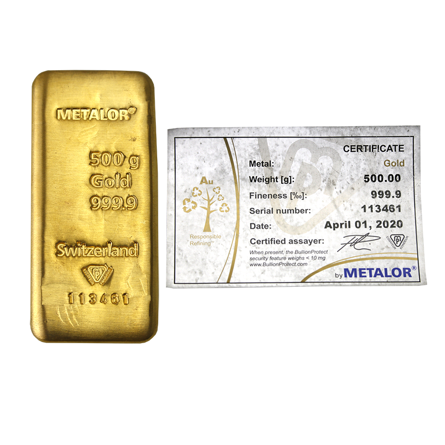 Metalor 500g Gold Cast Bar