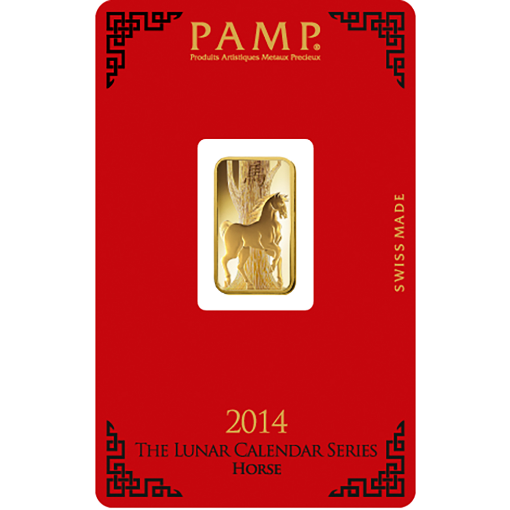 PAMP 2014 Lunar Horse 5g Gold Bar