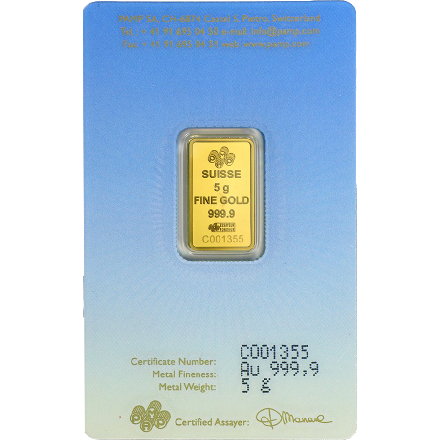 PAMP 'Faith' Lakshmi 5g Gold Bar (Image 2)