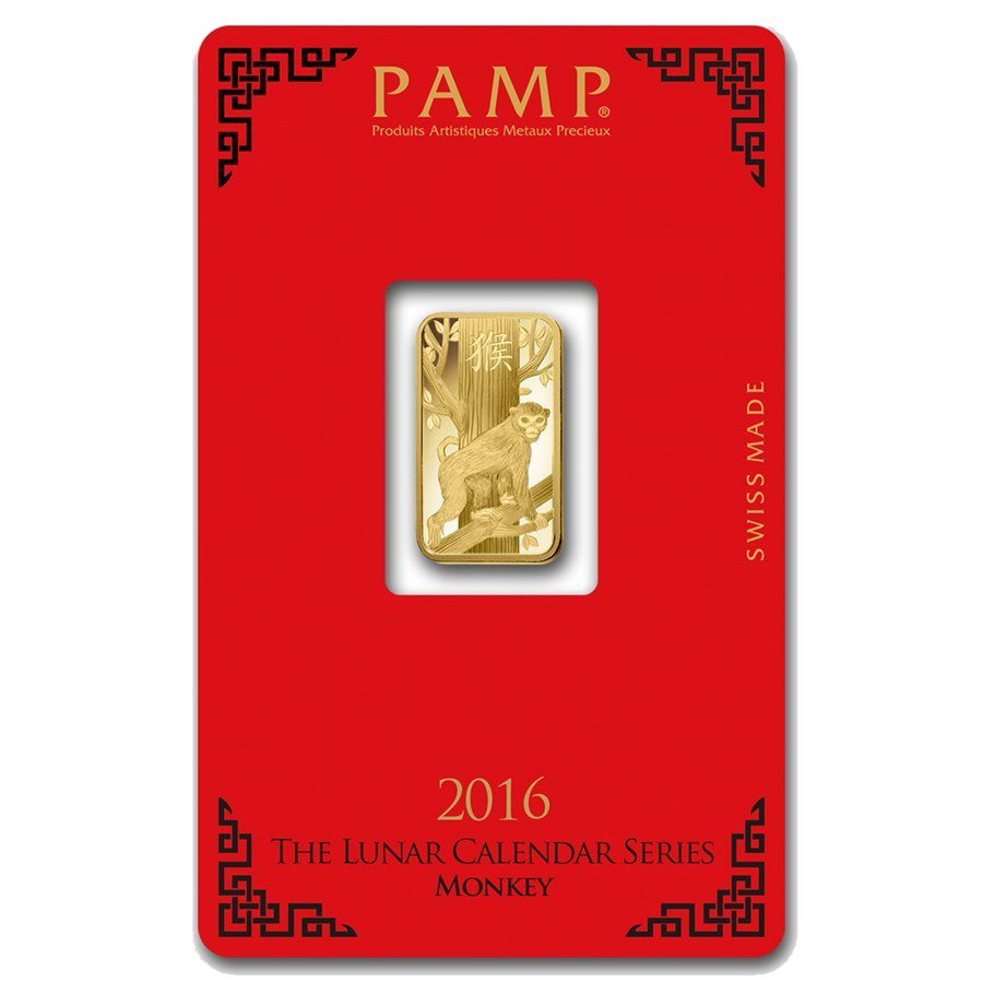 PAMP 2016 Lunar Monkey 5g Gold Bar