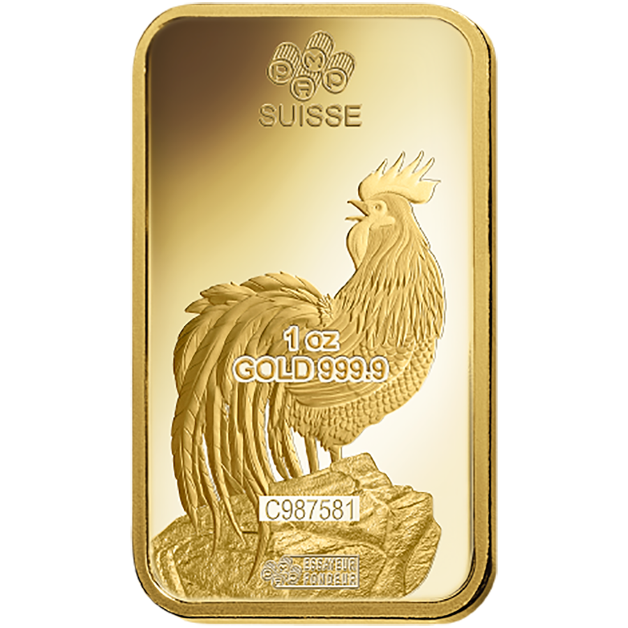 Pamp 2017 Lunar Rooster 1oz Gold Bar Atkinsons Bullion