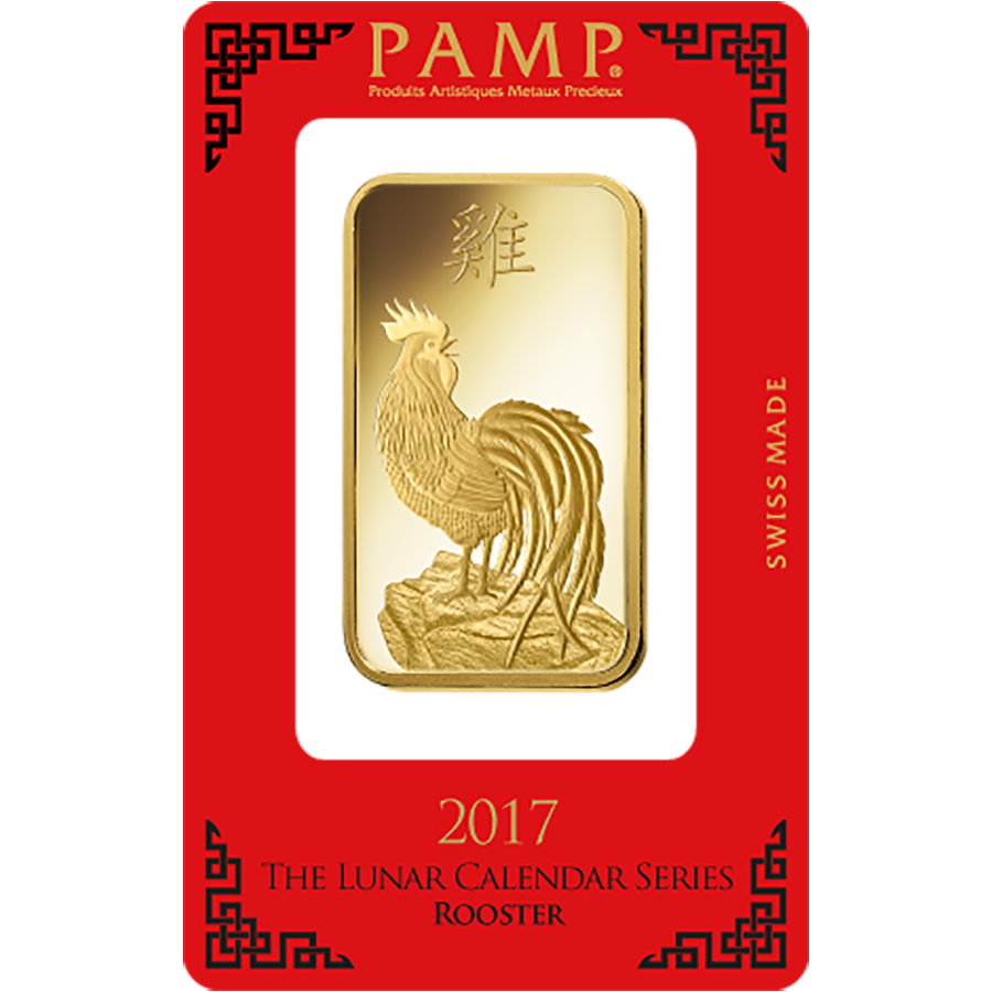 Pamp 2017 Lunar Rooster 100g Gold Bar Atkinsons Bullion