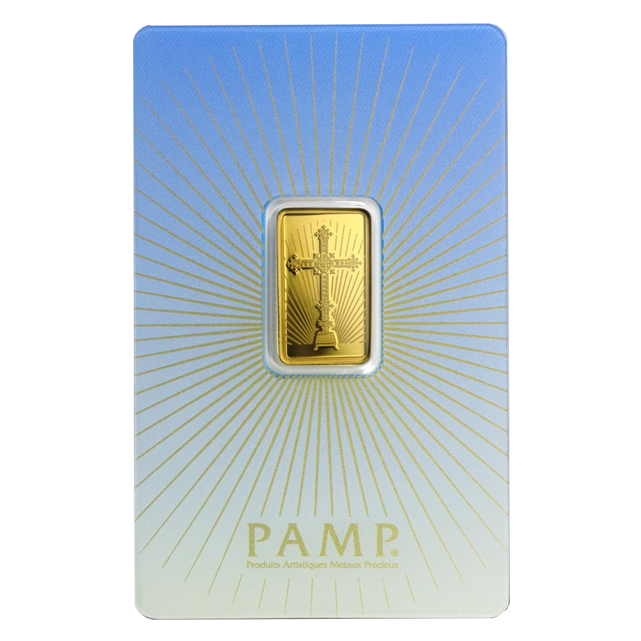 PAMP 'Faith' Romanesque Cross 5g Gold Bar with Gift Box & Certificate (Image 2)