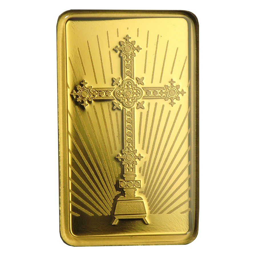 PAMP 'Faith' Romanesque Cross 5g Gold Bar with Gift Box & Certificate (Image 3)