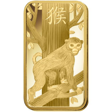 PAMP 2016 Lunar Monkey 5g Gold Bar with Gift Box & Certificate (Image 3)