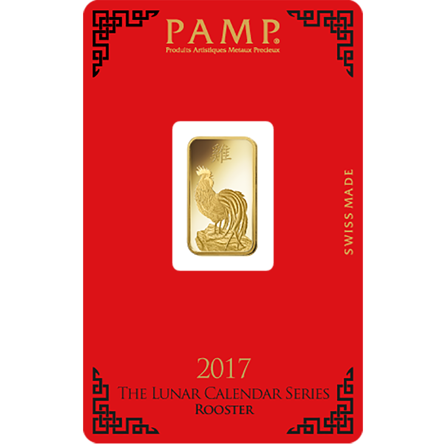 PAMP 2017 Lunar Rooster 5g Gold Bar with Gift Box & Certificate (Image 2)
