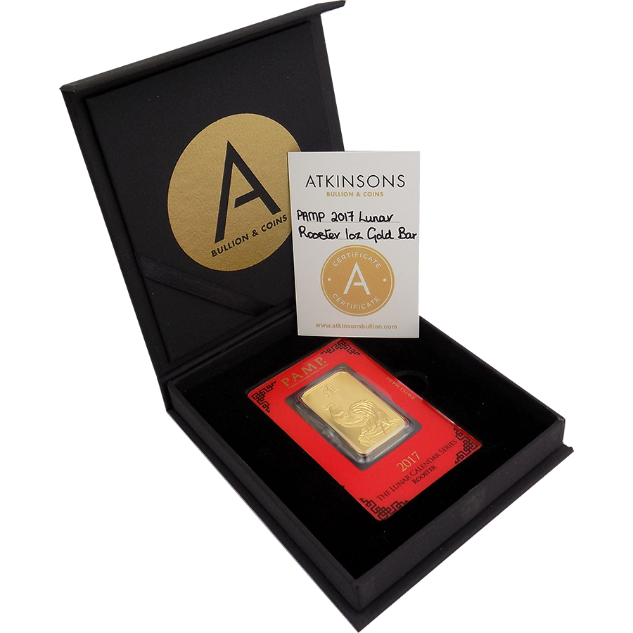 PAMP 2017 Lunar Rooster 1oz Gold Bar with Gift Box & Certificate
