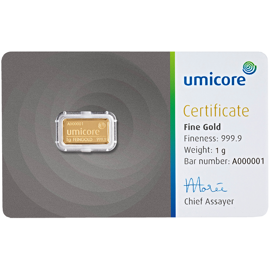 Umicore 1g Stamped Gold Bar in Assay 25 Bar Bundle (Image 2)