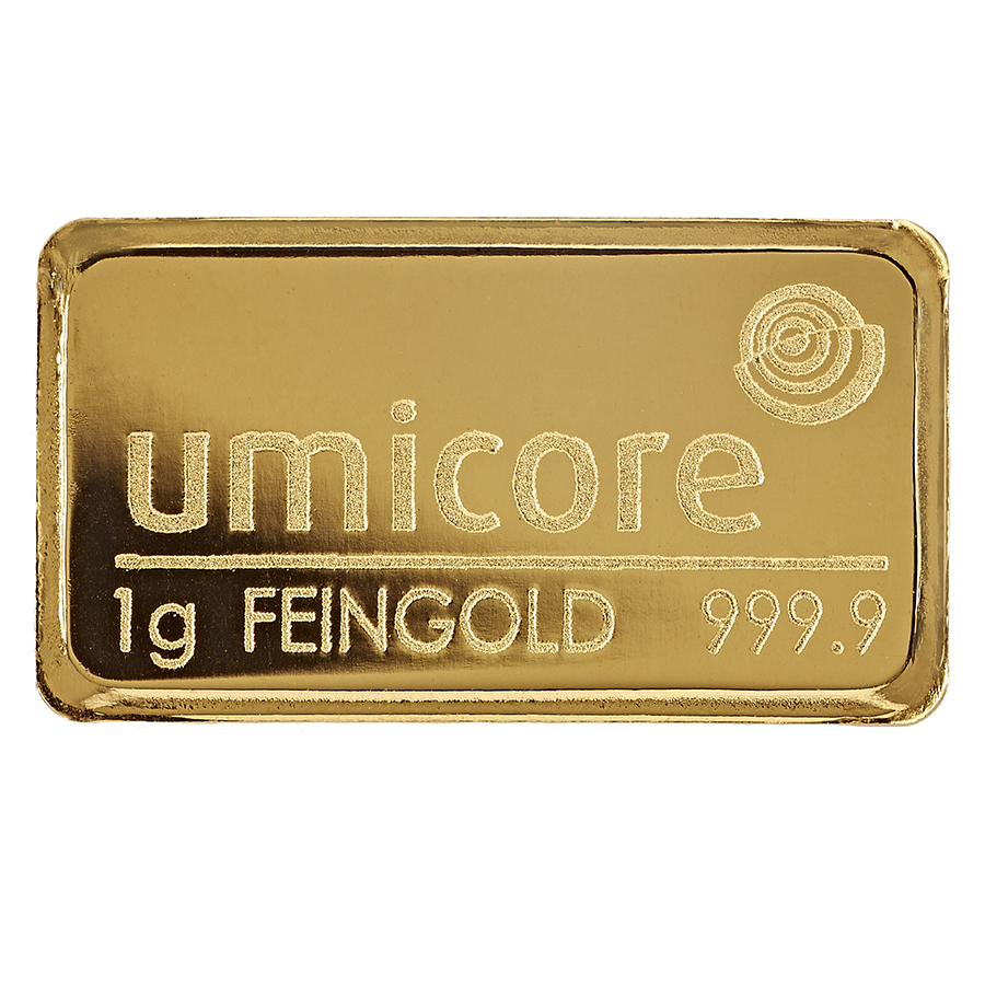 Umicore 1g Stamped Gold Bar in Assay 25 Bar Bundle (Image 3)