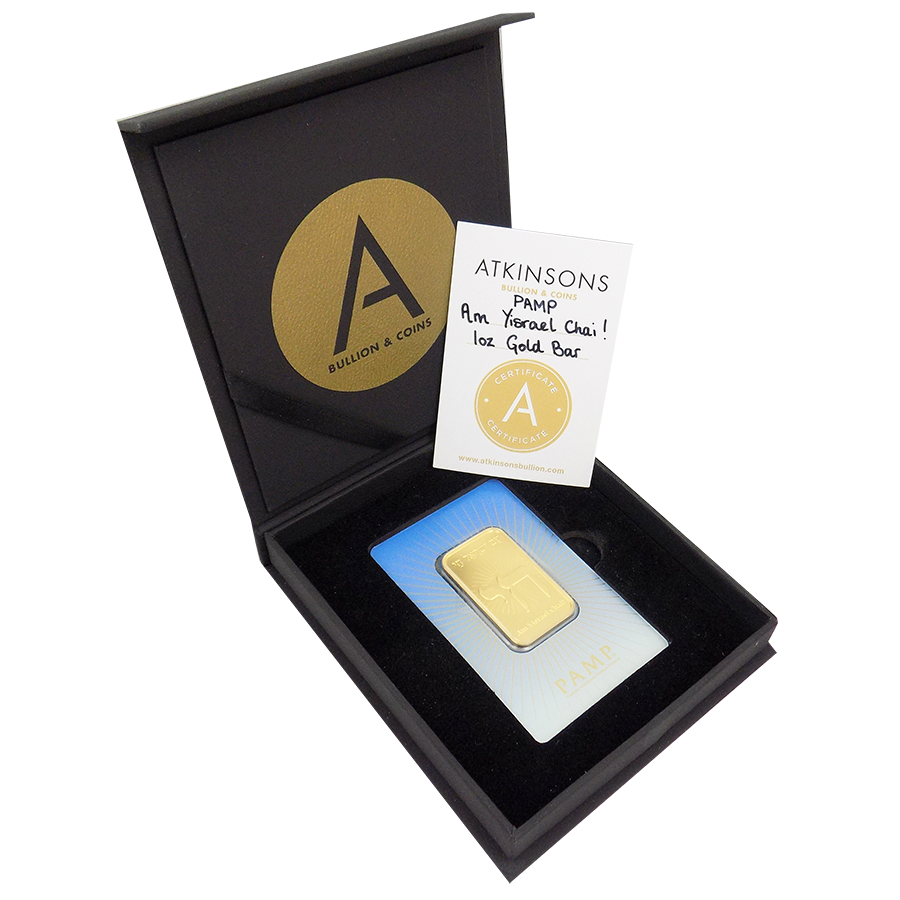PAMP 'Faith' Am Yisrael Chai! 1oz Gold Bar with Gift Box & Certificate
