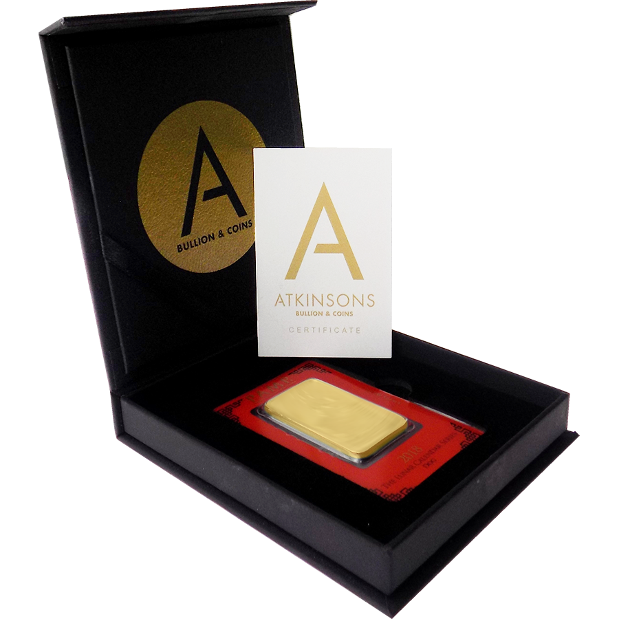 PAMP 2012 Lunar Dragon 1oz Gold Bar with Gift Box & Certificate