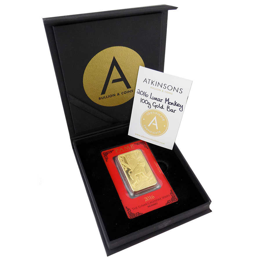 PAMP 2016 Lunar Monkey 100g Gold Bar with Gift Box & Certificate