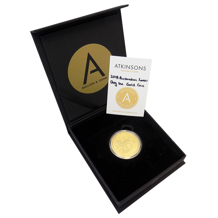 2018 Australian Lunar Dog 1oz Gold Coin with Gift Box & Certificate