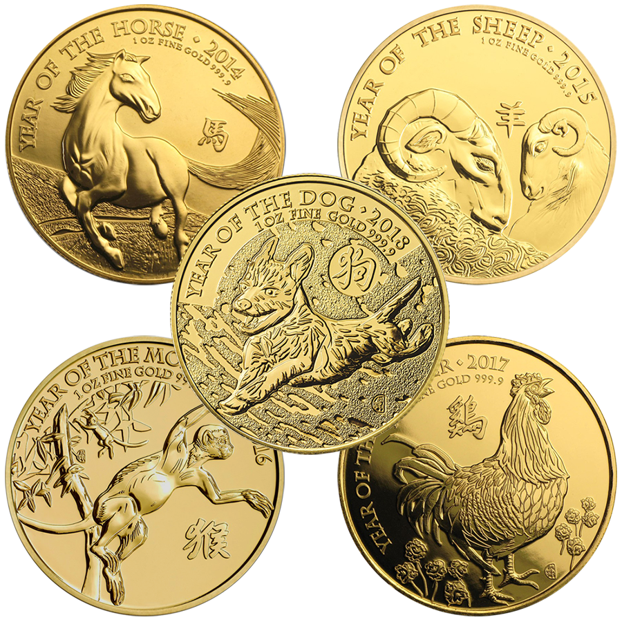 2014 - 2018 UK Lunar 1oz Gold 5-Coin Complete Collection