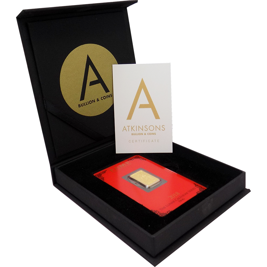 PAMP 2018 Lunar Dog 5g Gold Bar with Gift Box & Certificate (Image 2)