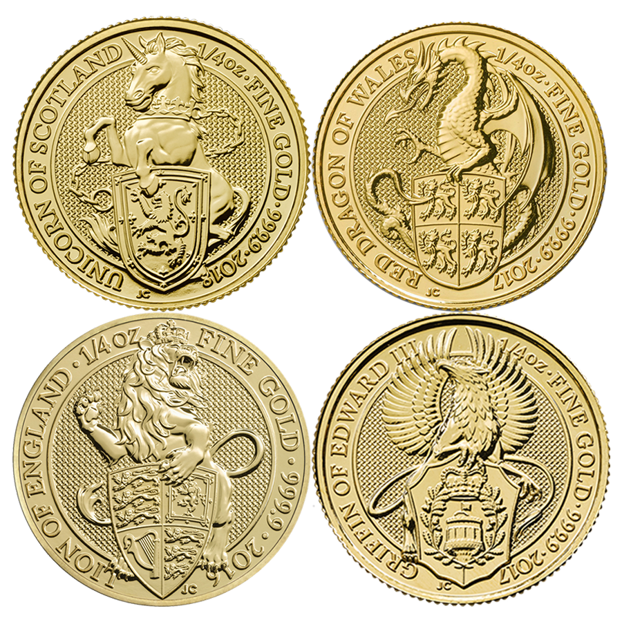 2016 - 2018 UK Queen's Beast Lion, Griffin, Dragon & Unicorn 1/4oz Gold Coin Collection