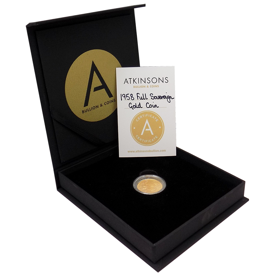 Pre-Owned 1958 UK Full Sovereign Gold Coin with Gift Box & Certificate (Image 1)