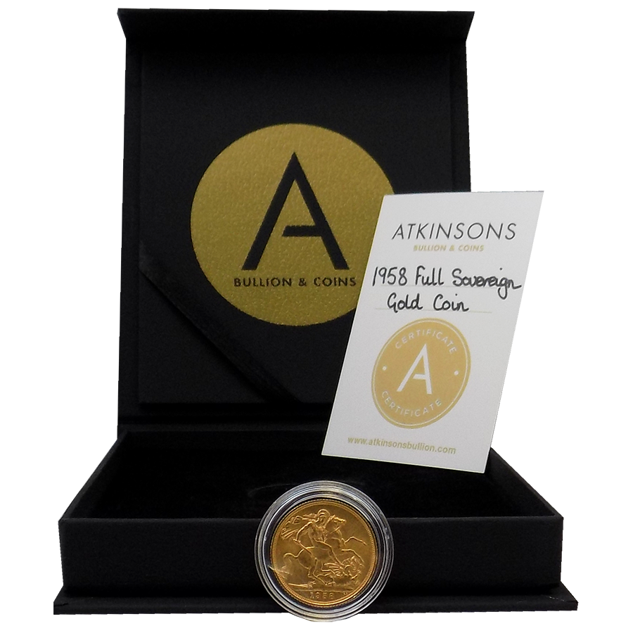 Pre-Owned 1958 UK Full Sovereign Gold Coin with Gift Box & Certificate (Image 3)