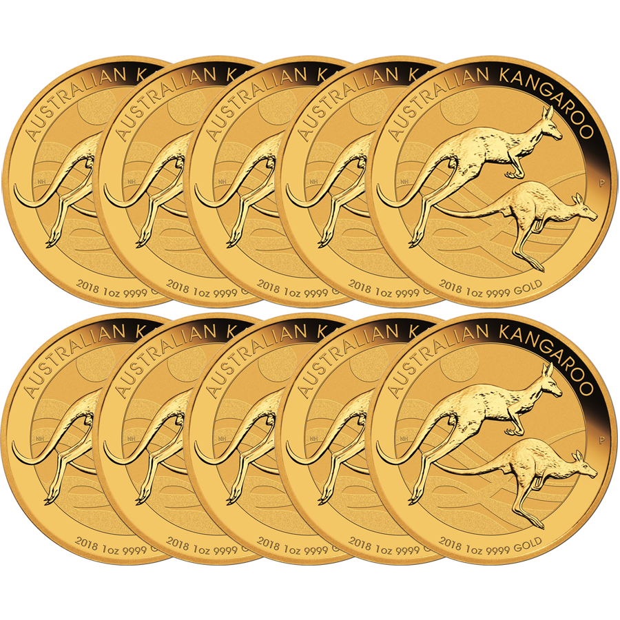 2018 Australian Kangaroo 1oz Gold 10 Coin Bundle