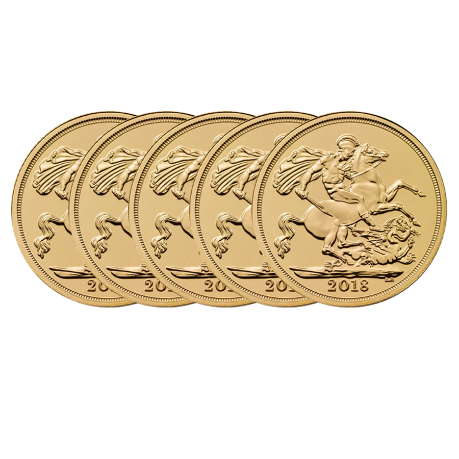 2018 UK Full Sovereign Gold 5 Coin Bullion Bundle