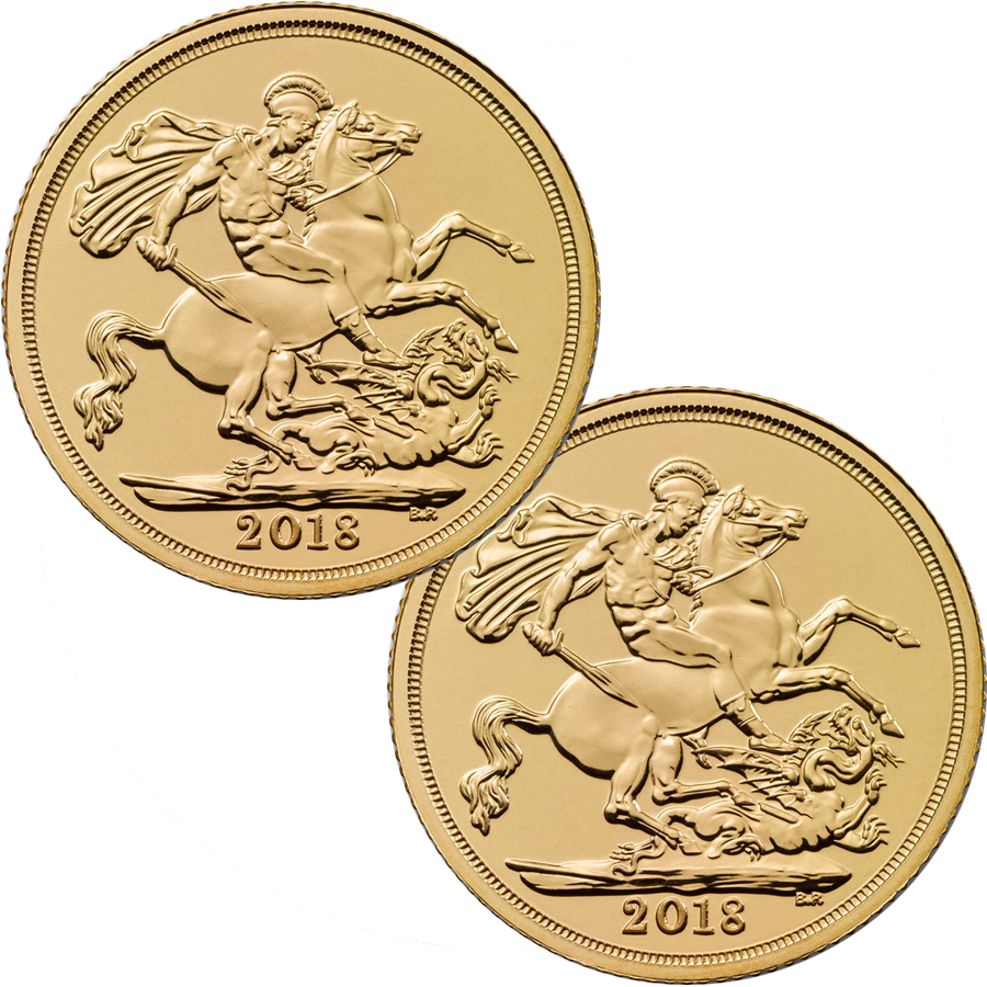 2018 UK Full Sovereign Gold 2 Coin Bullion Bundle