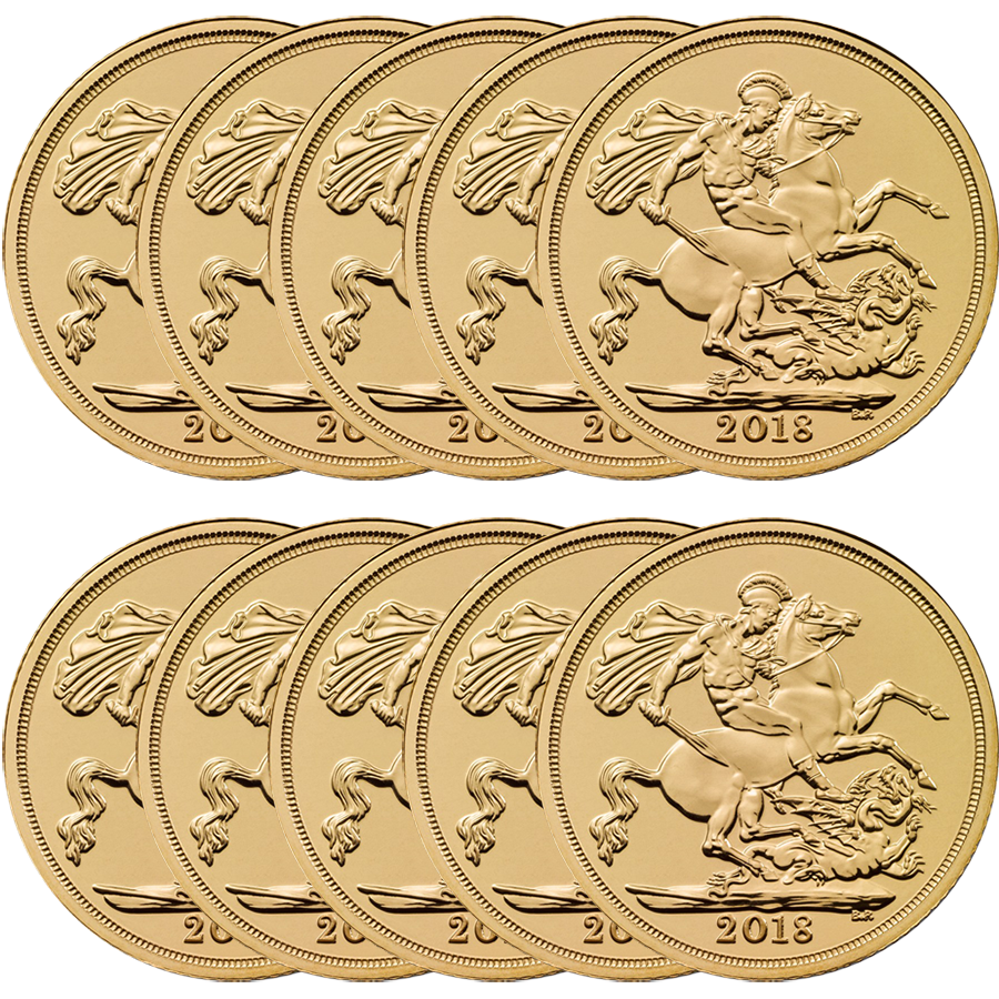 2018 UK Full Sovereign Gold 10 Coin Bullion Bundle