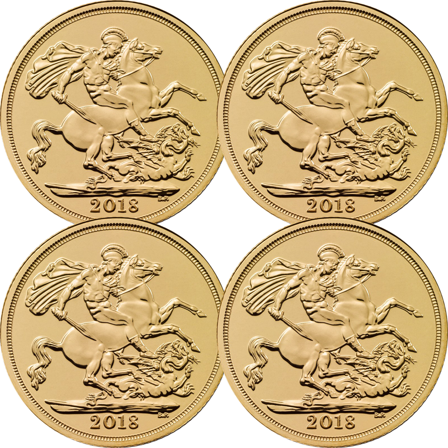2018 UK Full Sovereign Gold 4 Coin Bullion Bundle