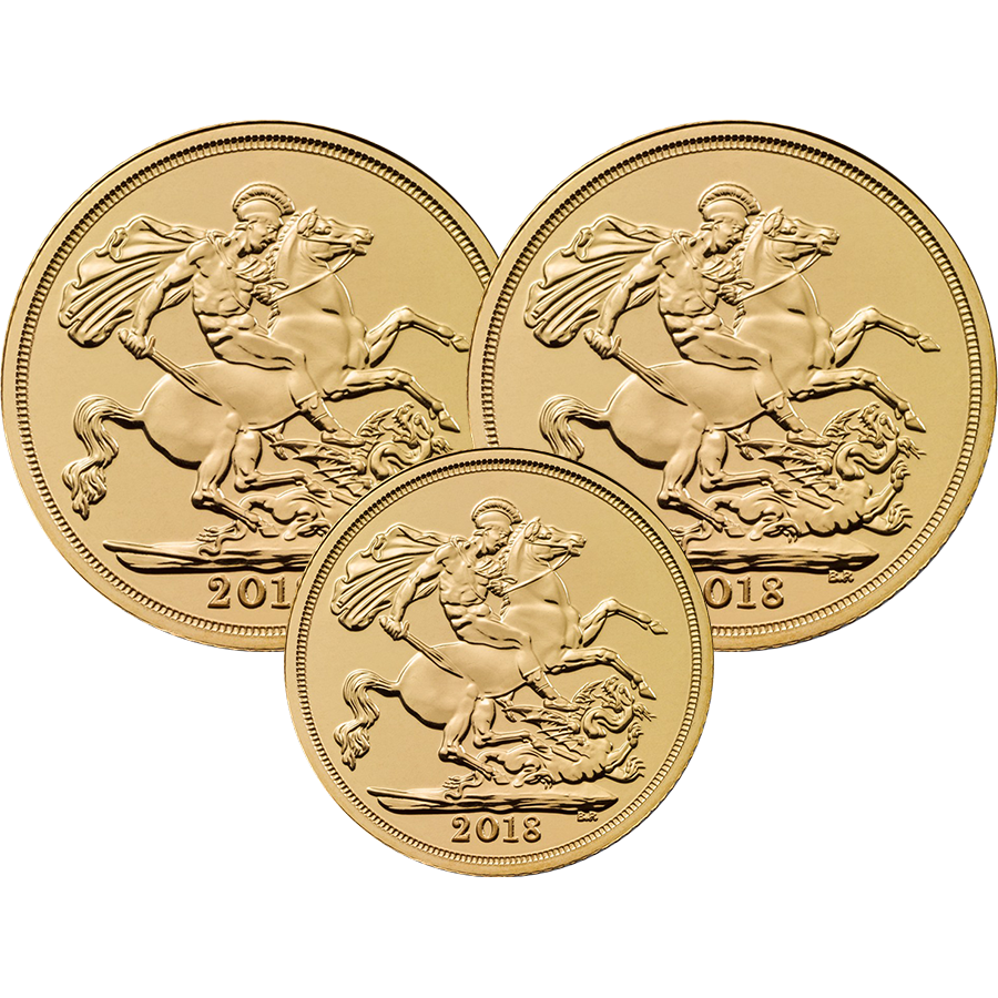 2018 UK 2 x Full Sovereign & 1 x Half Sovereign Gold Coin Collection