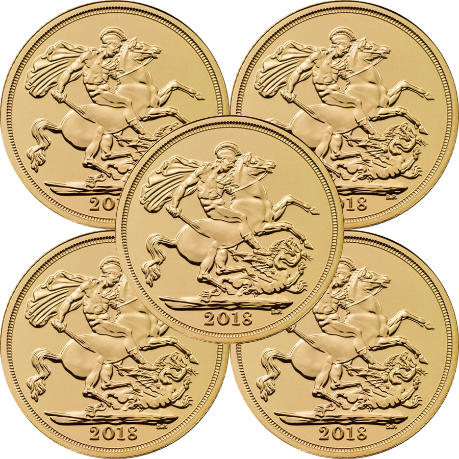 2018 UK Half Sovereign Gold 5 Coin Bullion Bundle