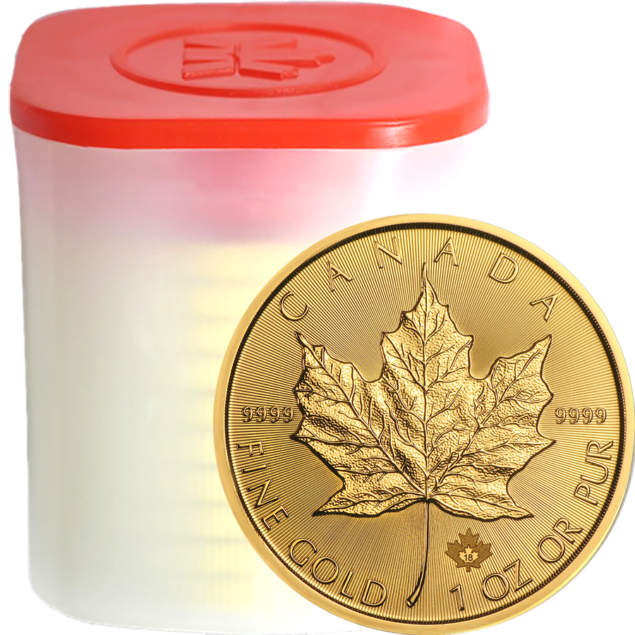 2018 Canadian Maple 1oz Gold Coins in Tube - (10 Coins)