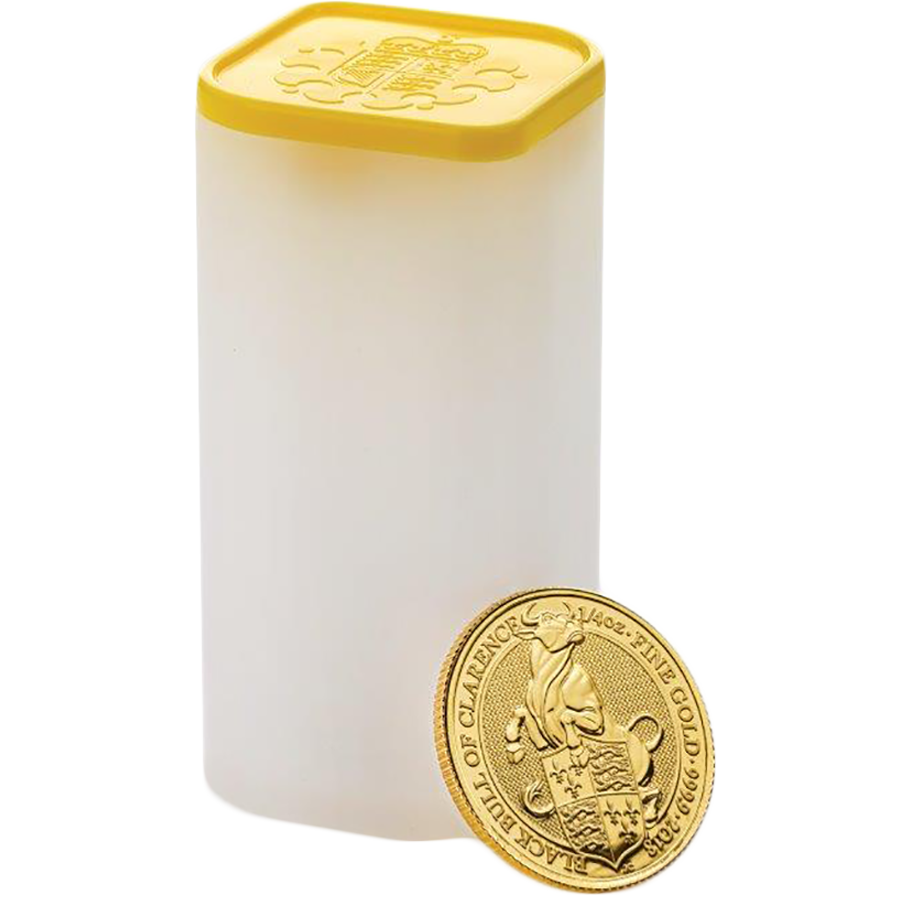 2018 UK Queen's Beasts The Black Bull of Clarence 1/4oz Gold Coins in Tube - (25 Coins)