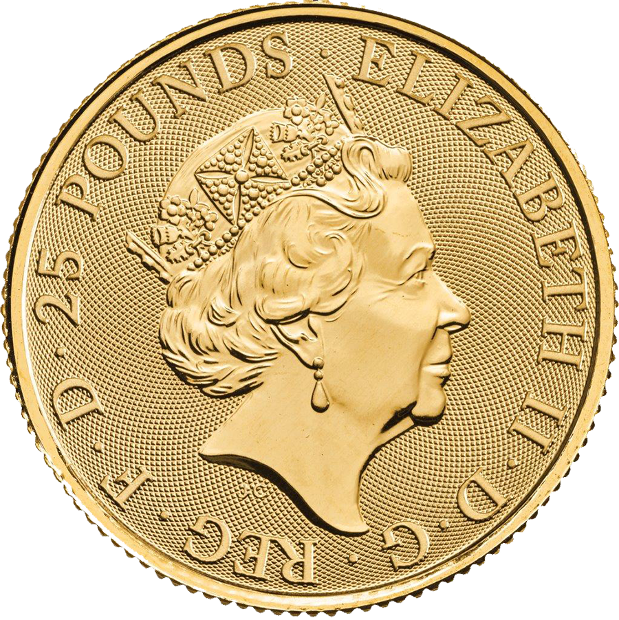 2018 UK Queen's Beasts The Black Bull of Clarence 1/4oz Gold Coin - Full Tube of 25 Coins (Image 3)
