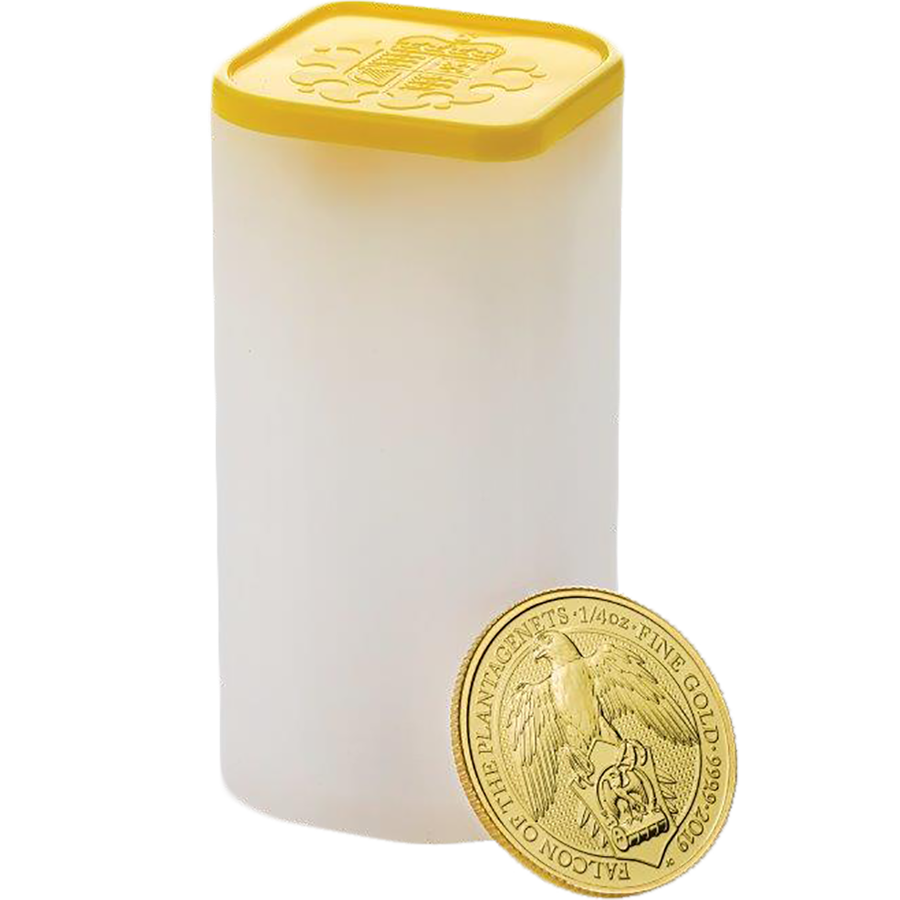 2019 UK Queen's Beasts The Falcon of the Plantagenets 1/4oz Gold Coins in Tube - (25 Coins)