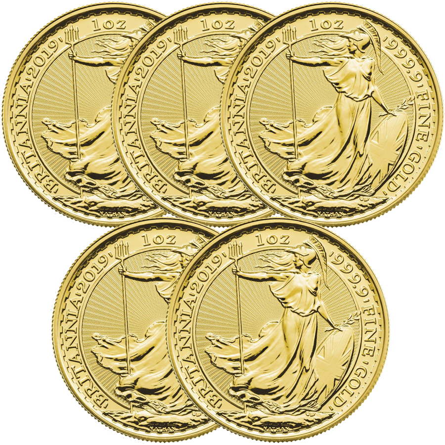 2019 UK Britannia 1oz Gold 5 Coin Bullion Bundle