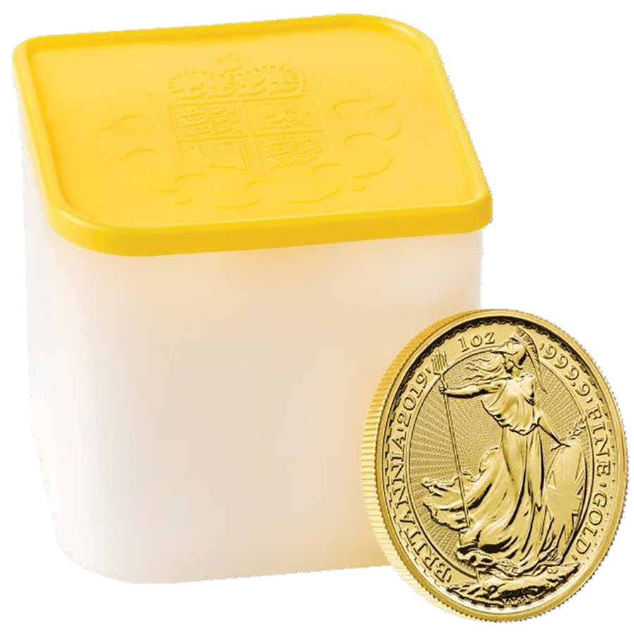 2019 UK Britannia 1oz Gold Coins - Full Tube of 10 Coins (Image 1)