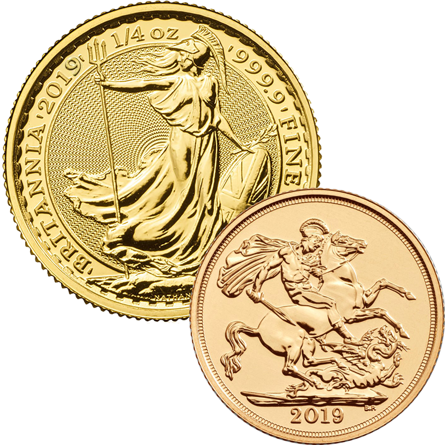 2019 UK Full Sovereign & Britannia 1/4oz Gold Coin Collection (Image 1)